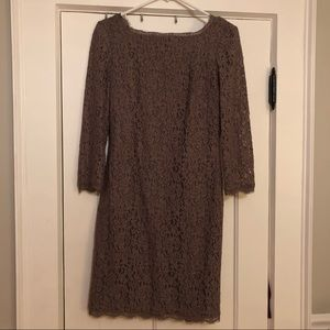 Adrianna Papell Long Sleeve Lace Dress Lilac Grey